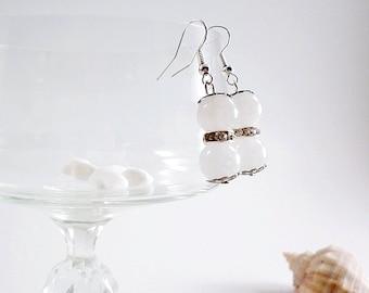 White agate jewelry, dangle earrings, fashion jewelry, chandelier earrings, Romantic earring, elegant clear earrings, Crystal Rhinestone