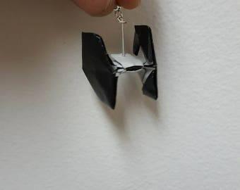Handmade Tie Fighter Origami Earrings