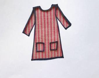 Custom Made Red and Tan Oxford Stripe Pocket Shift Dress