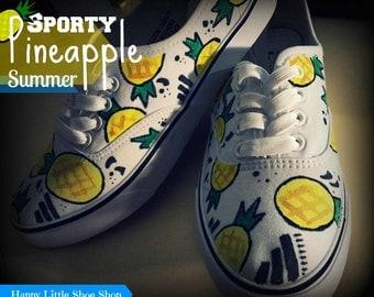 Sporty Pineapple Summer//Canvas Shoes (Handmade) - Happy Little Shoe Shop