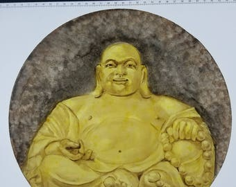 "Painted Glass - ""Amitahba"" Buddha detail - Fine Art"