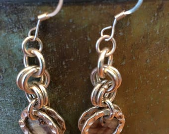 Chain Mail Earrings with Shell Disc