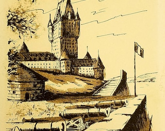 Framed Original Ink and Wash Drawing of a Citadel with Cannon