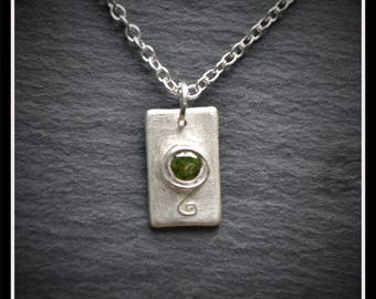 Silver Detail Rectangle CZ Pendant - Silver Precious Metal Clay (PMC), Handmade, Necklace - (Product Code: ACM059-17)