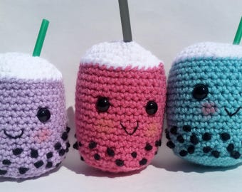 Customizable amigurumi bubble tea plush boba tea