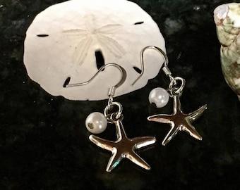 Starfish and Pearl Bead Dangle Earrings
