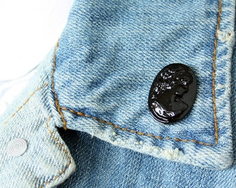Black Cameo Lapel Pin