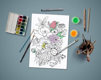 Coloring page for adults, flowers coloring page,adult coloring page, coloring page, PDF printable, Instant Download only,gift for adults