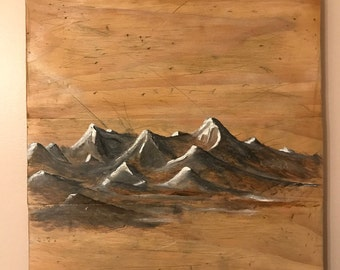 Mountains on Pine Wood 12.5 x 12 in. Oil Painting.