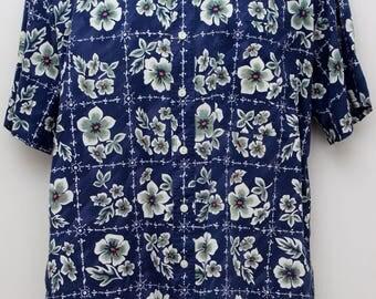 "80's Vintage ""CHAPS RALPH LAUREN"" Short-Sleeve Pattern Shirt Sz: Medium"
