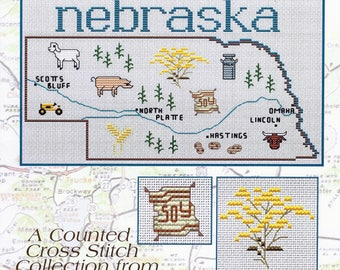 NEBRASKA NORTH & SouthDAKOTAS Cross Stitch Patterns Needlepoint Patterns Choose One or More