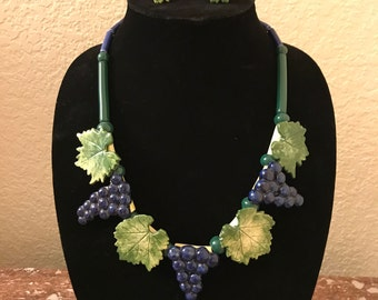 "Ruby Z ""Cabernet"" necklace and earrings by Candace Loheed"