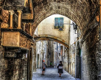 Alleys in Genoa. Artistic photography
