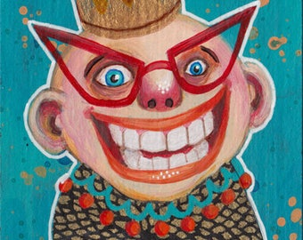 ACEO Original - Excited man with funky red glasses, crazy lowbrow sketch card with weird king