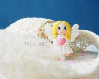 Cute Lovely Tiny Angel Girl Brooch/ handmade polymer clay jewelry Pin girly blonde pink dress sweet