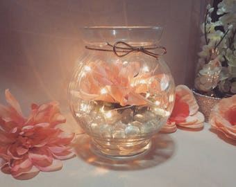 Simple glass centerpiece with LED lights ( Peach )