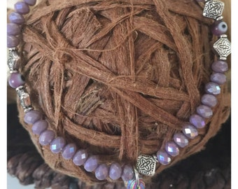 Lilac crystal evil eye bracelet