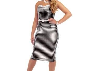 Collectif Monica Pencil Dress, Strapless Dress, 1940s Dress 1950s Dress, Vintage Dress, Collectif Dress