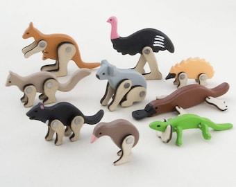 Wooden Australian animals, handmade, moveable animals, wooden animals