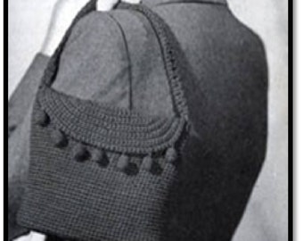 Hat and Shoulder Bag Set Pattern, Crochet Pattern, Vintage Pattern, Retro, Women's Purse, Carrying Bag