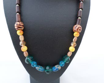 Happy colored necklace with jasper and tiger eye