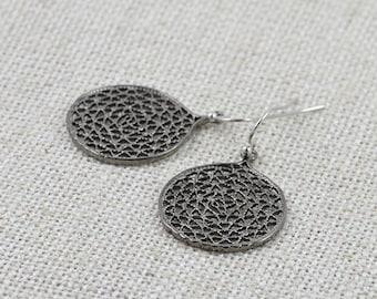Grey Earrings, FREE SHIPPING, Silver jewelry, Round Earrings, Dangle earrings, Chandelier Earrings, Everyday wear Earrings, Antique Style