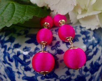 Hot Pink Bon Bon Earring, Silk Thread Wrapped Three Ball Earring, Pom Pom Earring