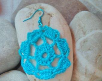 Jewelry crochet earrings crochet pattern fiber earrings fiber art jewelry light blue earrings