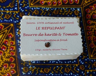 Natural, handmade, 100% SOAP with Shea butter pure tomato pulp, saponification soft 'cold' fair trade