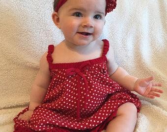 Custom Baby Dress - Polka Dot with Flower Headband