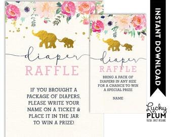 Elephant Diaper Raffle / Dumbo Diaper Raffle / Animal Diaper Raffle / Woodland Diaper Raffle / Flower Diaper Raffle / Jungle Diaper Raffle