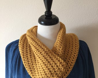 Mustard Cowl,  Free Shipping, Butterscotch Neck Scarf, Circle Neck Scarf, Crochet Neck Warmer , Infinity Scarf,  Wear Fall,  Winter,  Spring