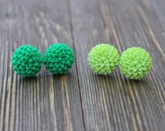 Mum Flower Stud Earring Set of 2 - Green