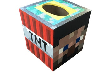 Minecraft Tissue Box Holder Hand Painted