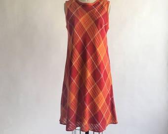 1960s Orange and Red Plaid Bias Cut Linen Tent Dress