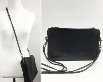 Black Coach Bag - Leather, Brass Hardware - Detachable Shoulder Strap/Crossbody Strap, Wrist Strap for Wristlet/Clutch - Classic 70s Vintage