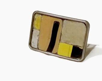 Graffiti Belt Buckle License Plate Handmade Mosaic Vintage Recycled Metal Caramel Brown Yellow Black Letter Industrial Urban Rustic Unisex