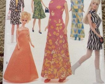 Vogue Craft Pattern 7291-Barbie Doll clothes Patterns-Vintage Vogue Dresses-OOP, New, Uncut, 1999-Retro