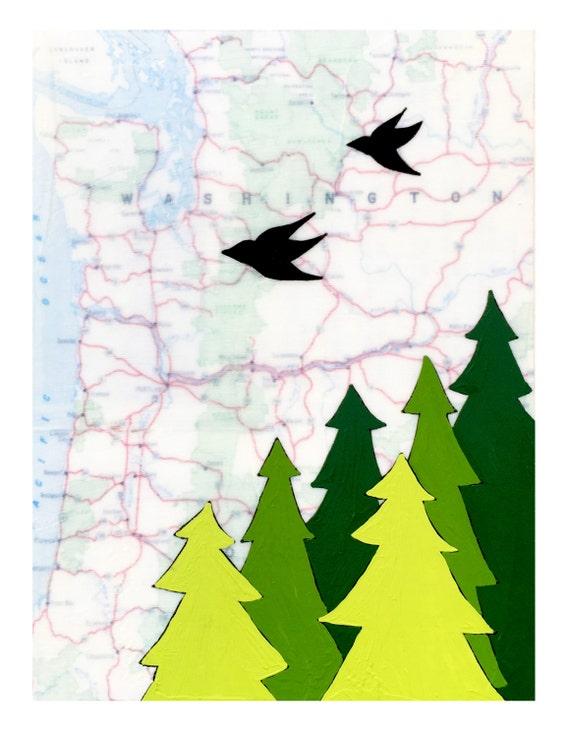 NEW // Washington Card // Cute Everyday Card // Map Card // Oregon Card // Love Bird Card // Blank Card // Rachel Austin Cards