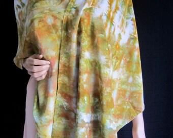 Shawl Hand Dyed Large Scarf Wrap Long Wide Sarong Fringe Green Orange Bronze White