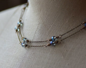 Elegant Long Vintage Style Necklace Round Faceted Gray Blue AB Crystals on Delicate Antiqued Brass Chain Single or Double Strand