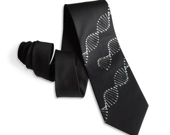 DNA Double Helix Tie. Silkscreen Printed Necktie. Silver on Black woven sharkskin necktie & more. Science ties, scientist gift.