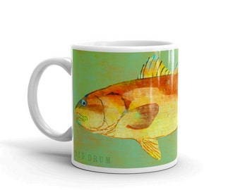 Fish Coffee Mug- Husband Gift- Fish Mug- Red Drum Mug- Fishing Gift- for Fisherman Gift- Fish Gift for Him