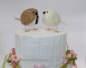 Reserved - Wedding cake topper love birds in light brown and cream with lace