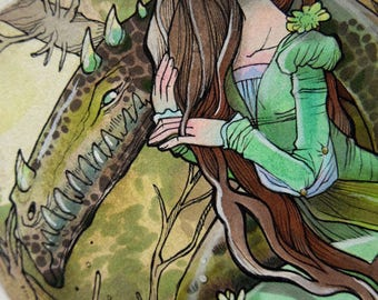 Ink and Watercolor Illustration - The Princess and the Dragon - Fantasy - Fairytale - Fantasy Art - OOAK Illustration - ORIGINAL