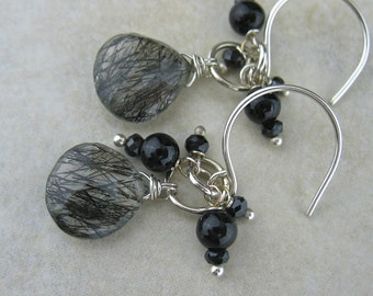 Black Clear Gray Wired Cluster Stone Earrings, Black Gray Wired Stone Jewelry, Cluster Jewelry, Wrapped Cluster Black Gray Earrings