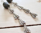 Faceted Labradorite Vintage Sterling Silver Earrings - Long - Statement - gray - grey - Metal - Etsy Jewelry - catROCKS - glam - gala