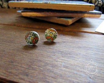 Mexican Jewelry, Miniature Mexican Talavera tile Post Earrings, orange and green flower, Mexican Folk Art, native earrings, stud