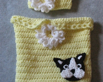 Crochet Pattern - Boston Terrier Flowers and Lace Baby Cocoon Pattern - Sleep Bag Pattern - Pajama Pattern - Baby Clothes - Digital Download