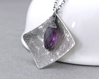 Boho Necklace Silver Necklace Amethyst Necklace Purple Gemstone Necklace February Birthstone Holiday Gift for Her - Contrast